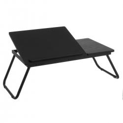Bandeja plegable para portátil de metal y MDF negra de 74x34x25 cm