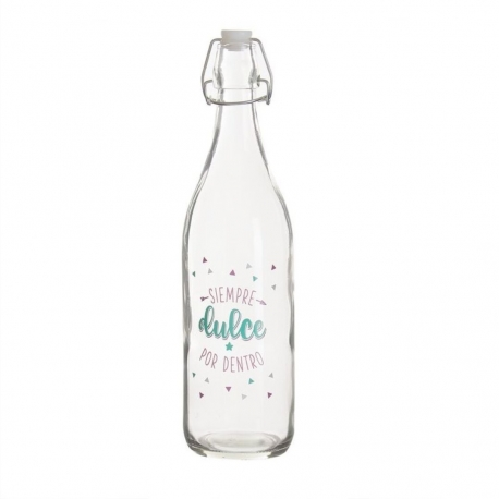 Botella de agua con mensaje positiva siempre dulce