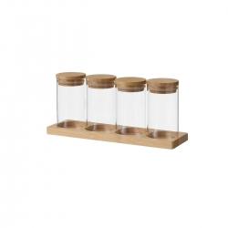 Set de 4 tarros de cristal y bambú natural con bandeja