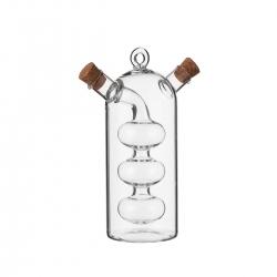 Aceitera y vinagrera grande 2 en 1 de cristal transparente de 75+300 ml