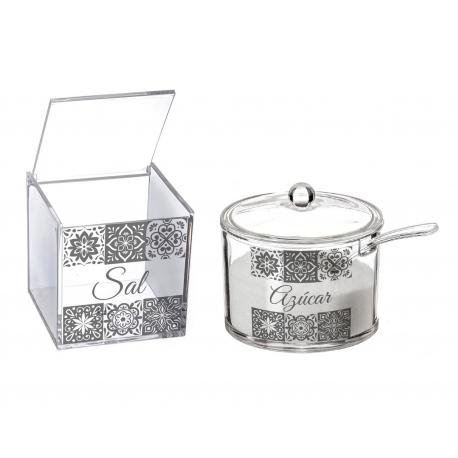 Salero y azucarero de cocina de acrilico diseño frases Sal y Azucar