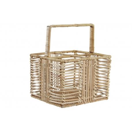Cubertero portátil ratan metal 20x20x26 marron claro