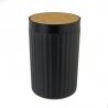 Papelera 5 litros negra de bambú PVC de Ø 18x28 cm
