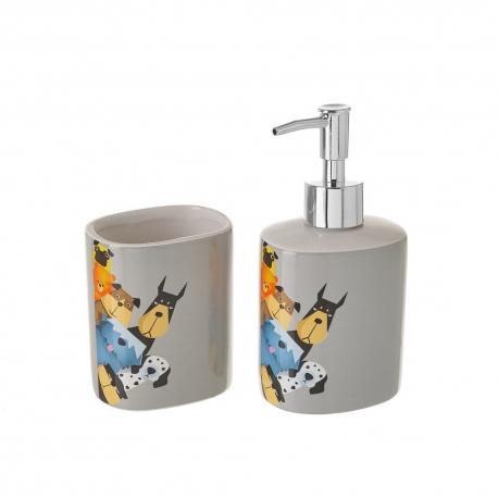 Set de dispensador y portacepillos de cómic de cerámica gris