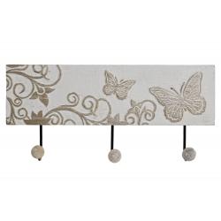 Perchero pared 3 colgador madera tallada mariposas 38x17 cm