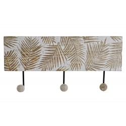 Perchero pared 3 colgador madera tallada Hojas 38x17 cm
