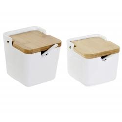Salero y azucarero de cocina basic con tapa bambu , cucharitas incluido