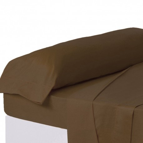 Juego de sábanas de cama 135 clásico marron de algodón / poliéster Basic