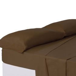 Juego de sábanas de cama 150 clásico marron de algodón / poliéster Basic