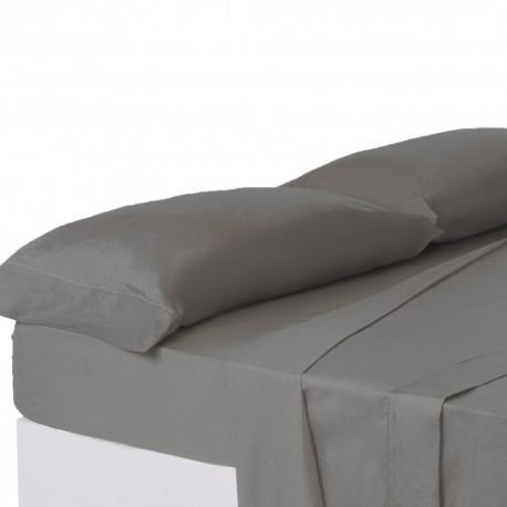 Juego de sábanas de cama 150 clásico gris de algodón / poliéster Basic