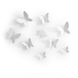 Decoracíon de pared Mariposa (Conjunto de 9) Blanco