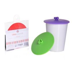 S/3 Tapa redonda silicona para tazas 10x10 cm verde rojo y morado 3/c