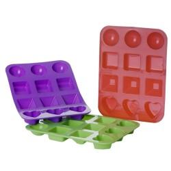 Pack 3 Molde cubitos hielo silicona verde, rojo y morado. 17,50 x 13,50 x 2 cm / un por color
