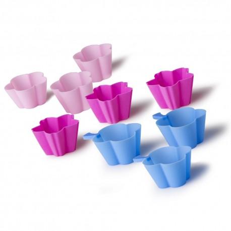 S/18 molde cupcake 3/c silicona 6/rosa, 6/fucsia y 6/azul. 4,50 x 5 x 2 cm