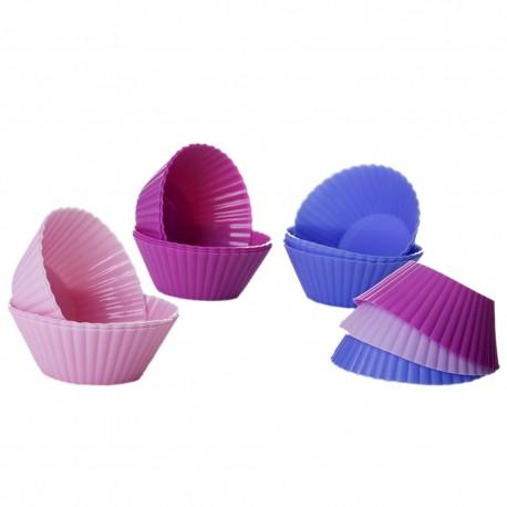 S/18 molde cupcake 3/c silicona 6/rosa, 6/fucsia y 6/azul. 7,50 x 7,50 x 3 cm