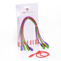 Cordones de Silicona para Cocina 6 unidades 3/c rojo, morado y verde. / 2 por color