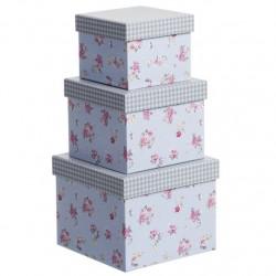 Juego 3 cajas cuadrado diseño clasico flor tapa vichy