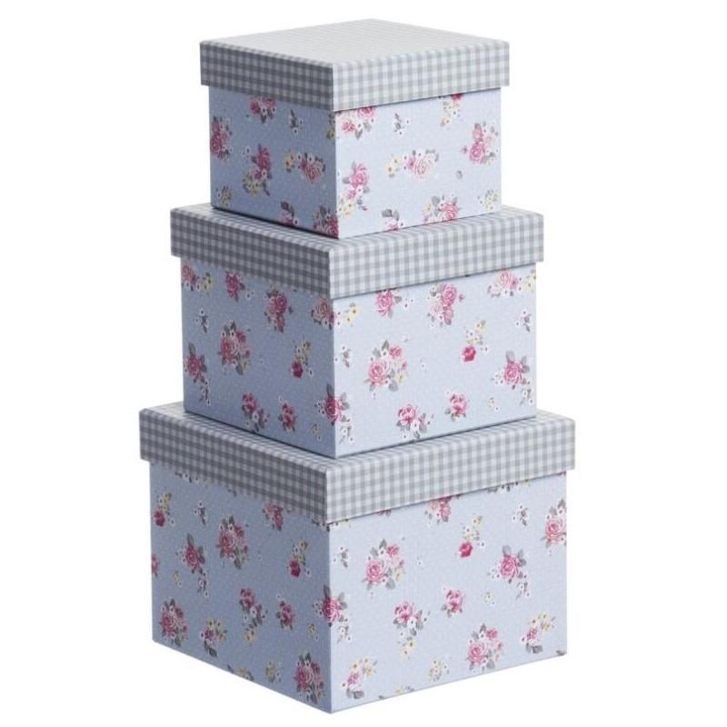 Juego 3 cajas cuadrado dise o moderno flor tapa vichy - Cajas almacenaje decorativas ...