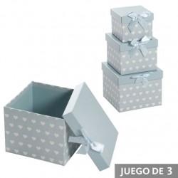Juego 3 cajas cuadrado diseño infantil con lazo azul