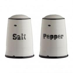 Juego salero y pimentero vintage ceramica blanco/negro diseño original SALT / PEPPER