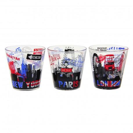 Set 3 vasos de agua cristal moderna city 3/m Diseño Original New york , Paris , London