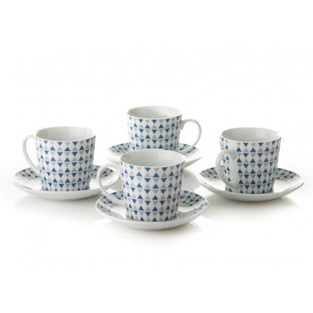 S/4 Taza con plato te geo azul porcelana