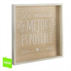 "Decoracion cuadro diseño frase """"MUNDO MEJOR"""" 40x40cm"