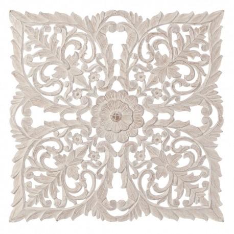 Mural tallado natural lavado beige de madera para decoración 90 x 90 cm .