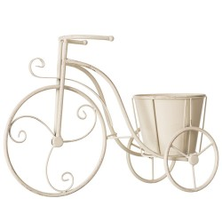 Macetero bicicleta crema metal jardín 44 x 15 x 31 cm .