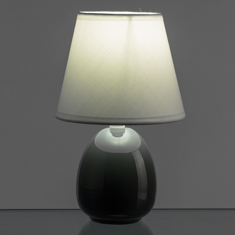 L mpara para mesita de noche moderna gris de cer mica para for Lampara de noche castorama