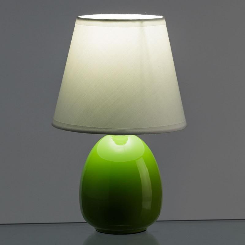 L mpara para mesita de noche moderna verde de cer mica - Lamparas para mesitas de noche ...