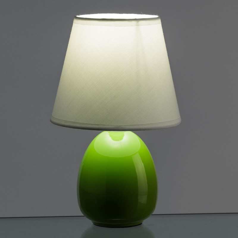 L mpara para mesita de noche moderna verde de cer mica for Lampara de noche castorama