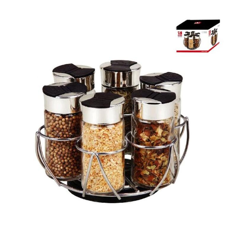 Juego de 6 especieros giratorios ideal para cocina moderna for Cocina ideal