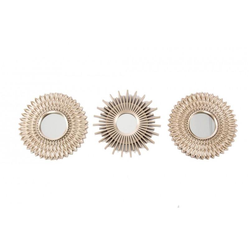 Juego de 3 espejos pared decorativos dorado for Espejos decorativos dorados