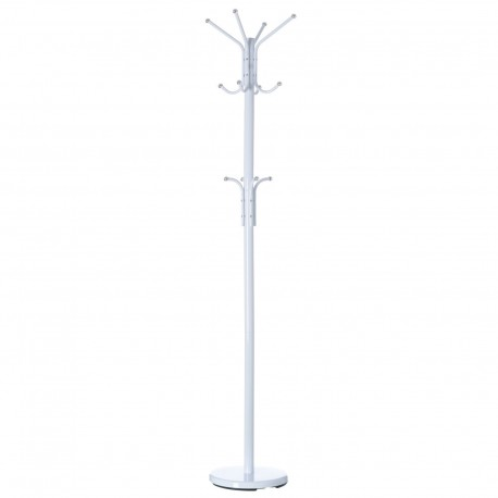 Perchero 12 brazos blanco metal 30 x 30 x 178 cm tubo de 38x13 mm.