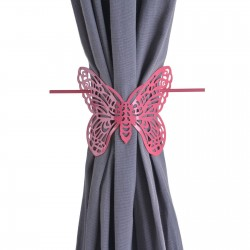 Alzapaños metal diseño mariposa color fucsia 13.50x10x10.50 cm