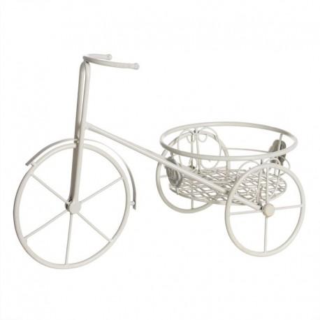 Macetero bicicleta crema metal jardín 46x25x34 cm