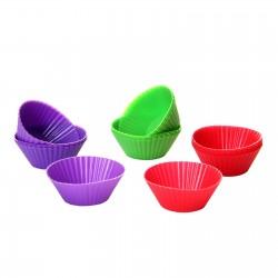 S/18 molde cupcake 3/c silicona 6/verde, 6/rojoy 6/morado .