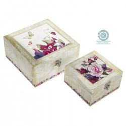 Juego de 2 caja decoradas floral /lienzo/mdf (OFERTA)