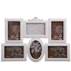 Portafotos plastico multiple blanco 6 Fotos clasicos