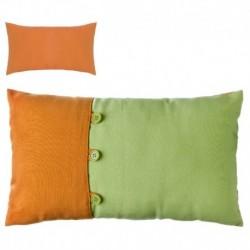 """Cojín bicolor new living colors"""" 50 x 30 cm verde y naranja con botones a juego."""""""
