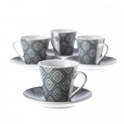 Juego 6 Taza con plato cafe vintage gris con caja de regalo
