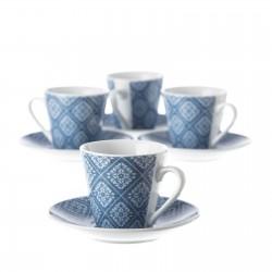 Juego 6 Taza con plato cafe vintage azul con caja de regalo