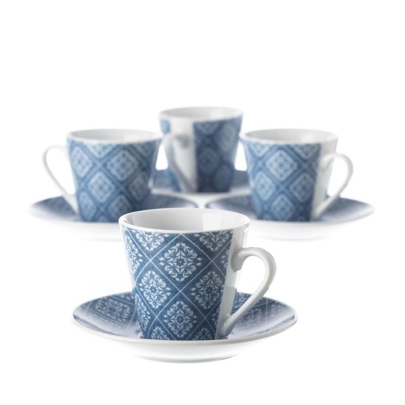 Juego 6 taza con plato cafe vintage azul con caja de for Juego tazas cafe