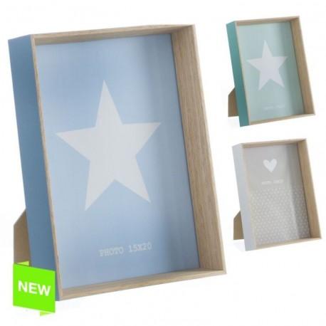 Portafotos madera diseño original estrella 15x20cm 3C