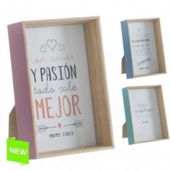 Portafotos madera diseño original frases 10x15 cm