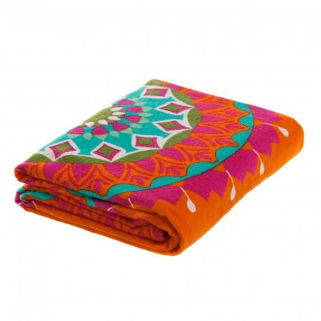 "Toalla de playa ""ibiza"" naranja de algodón con bonito decorado."