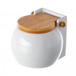 Salero blanco cerámica con tapa de bambú. 3 x 12 x 11 cm