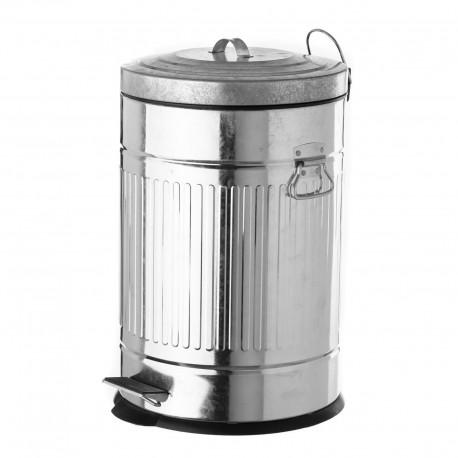 Papelera de 20 litros industrial plateada de metal para cocina Basic