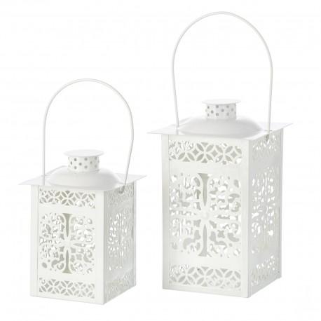 Faroles portavelas románticos blancos de metal para terraza